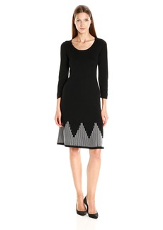 Nine West Women's 3/4 Slv Ottoman Dress W/ Flared Hem  S