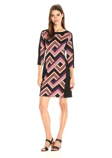 Nine West Women's 3/4 SLV Scuba Boatneck Shift Dress with Solid Combo