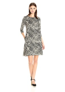 Nine West Women's 3/4 Slv Swing Dress W/ Invisible Zipper