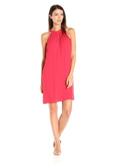 Nine West Women's a-Line Dress with Detail AT Neck
