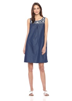 Nine West Women's a-Line Dress with Embroidered Yoke