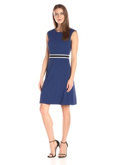 Nine West Women's a Line Dress with Trim Waistband