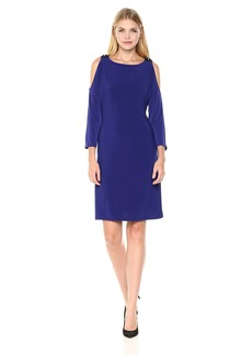 Nine West Women's a-Line Jersey Dress with Beaded Shoulder Cutouts