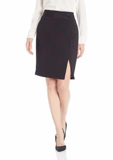 Nine West Women's ASSYMMETRICAL Crepe Skirt with Belt Detail