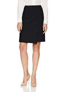 Nine West Women's Asymmetrical BTN Crepe WRAP Skirt