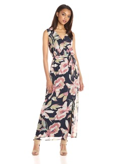 Nine West Women's Bali Vines Printed Surplus Wrap Dress
