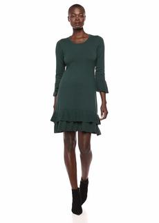 Nine West Women's Bell Sleeve Sweater Dress with Ruffle Hem  M