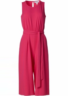 NINE WEST Women's Belted Crop Crepe Jumpsuit Bright ROSE-3BY