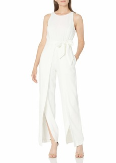 NINE WEST Women's Belted Jumpsuit with Flyaway Pant WHITE-I15