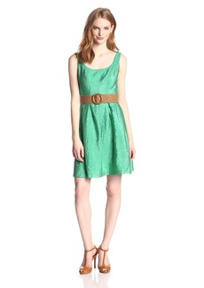 Nine West Women's Belted Sleeveless Pleated Dress