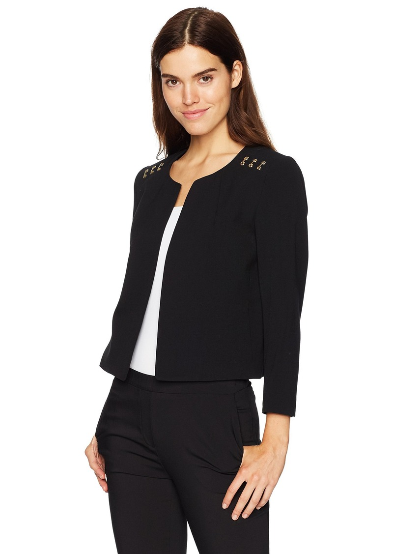 Nine West Women's Bi Stretch Kiss Front Jacket Shoulder Detailing