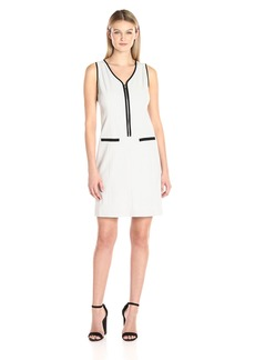 Nine West Women's Bi Stretch Solid Dress with Zipper Front