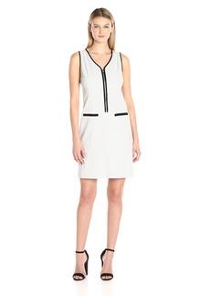 Nine West Women's Bi Stretch Solid Dress W/ Zipper Front