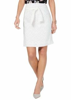 NINE WEST Women's Burnout Skirt with SELF Belt