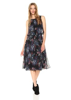 Nine West Women's Butterfly Floral Midi Dress with Shirred Waist