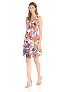 Nine West Women's Cabana Floral Sweetheart Neckline Dress
