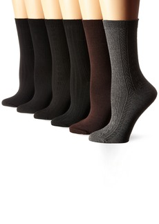 Nine West Women's Cable Ribbed Basic Crew Socks 6-Pack