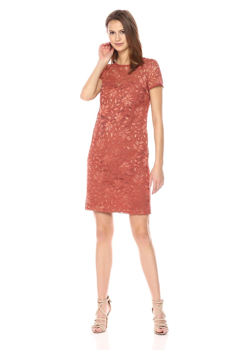 Nine West Women's Cap Lace Dress W/Nkline and SLV Edge Binding