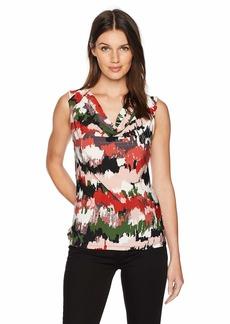 Nine West Women's Cap Sleeve Cowl Neck Printed ITY TOP  XL