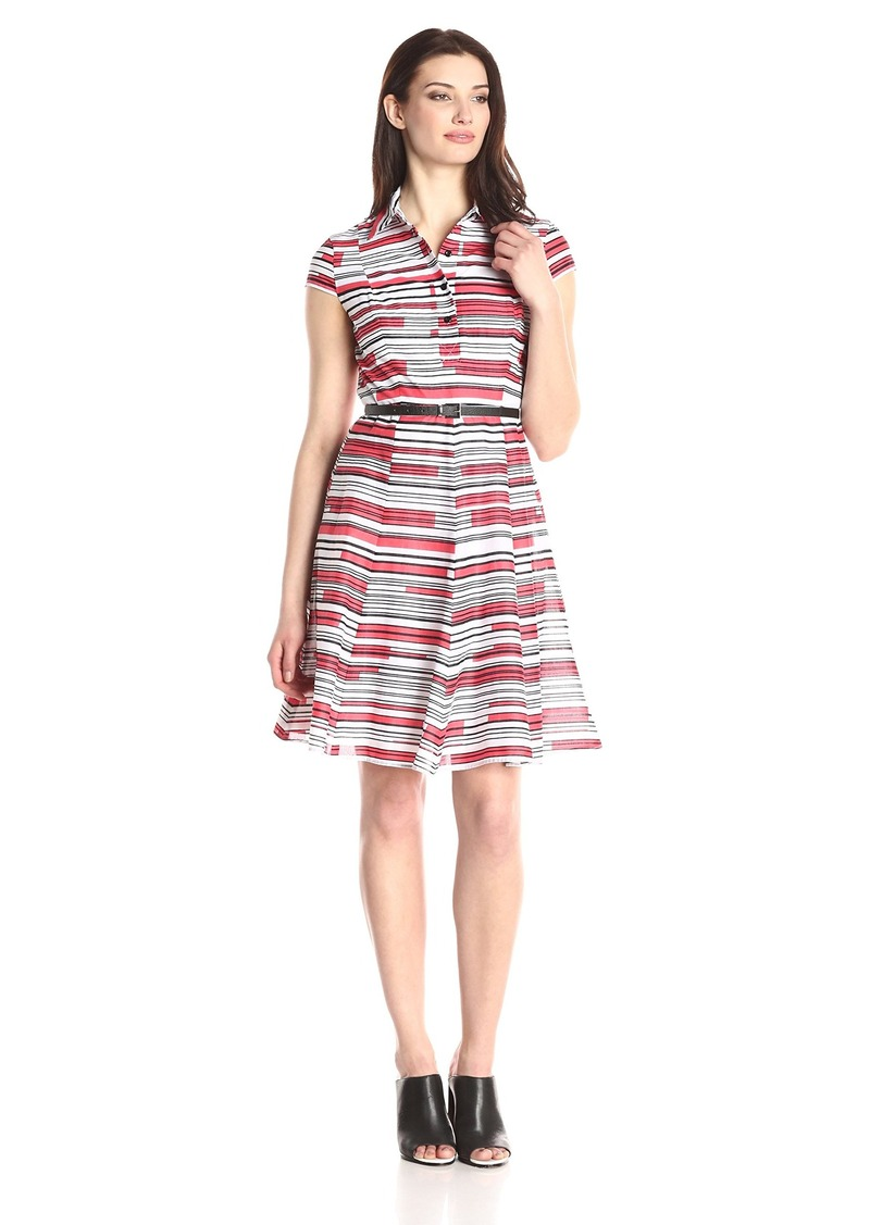 Nine West Women's Cap Sleeve Fit and Flare Belted Shirt Dress
