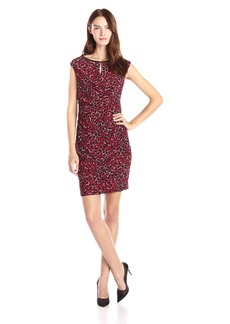 Nine West Women's Cap Sleeve Mottled Animal Rouched Dress