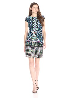 Nine West Women's Cap Sleeve Prism Print Dress