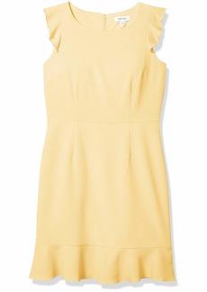 NINE WEST Women's Cap Sleeve Ruffle Dress