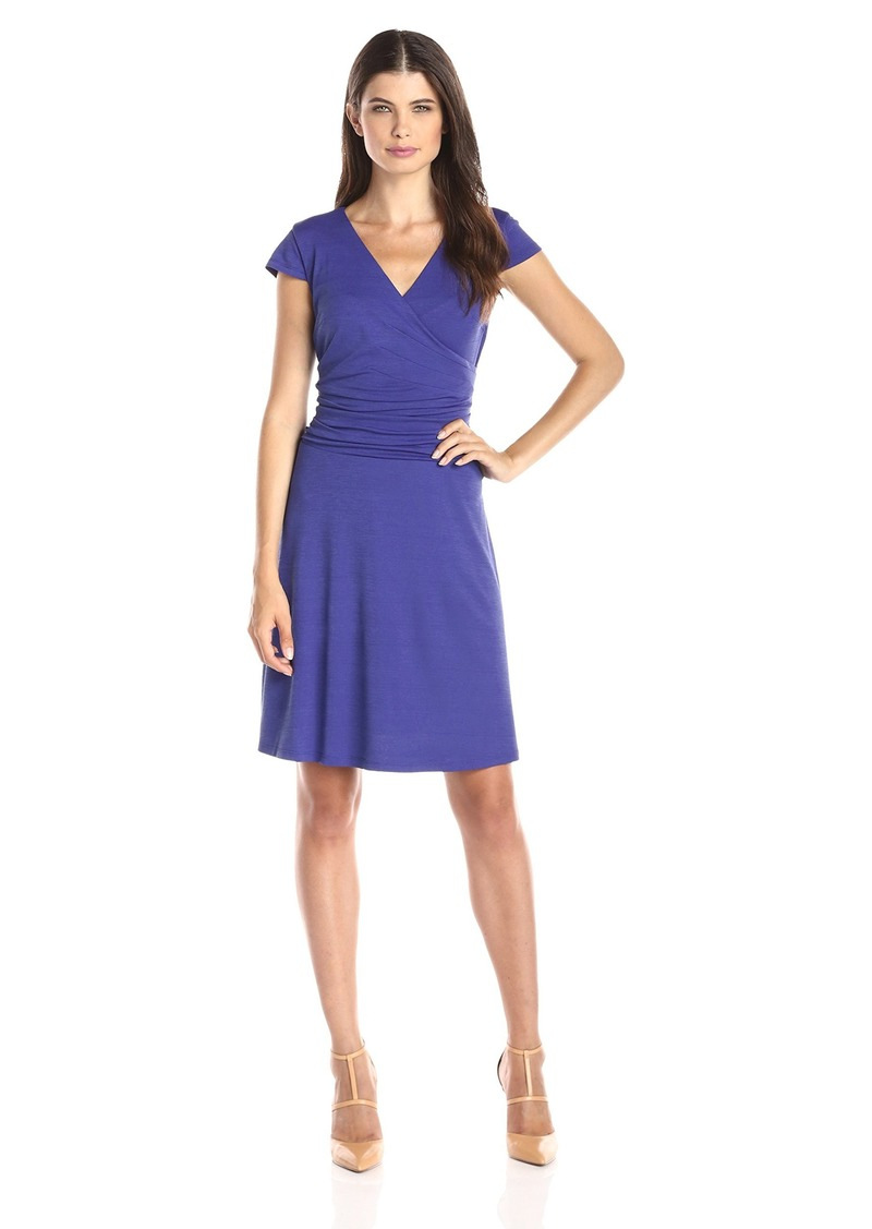 Nine West Women's Cap Sleeve Surplice Flare Skirt Dress