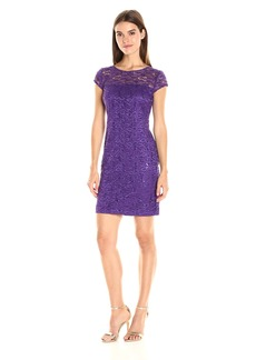Nine West Women's Cap Slv Lace Shift Dress