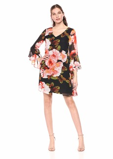 Nine West Women's Cascading Sleeve Printed Shift Dress