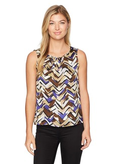 Nine West Women's Charmeuse Abstract Pleat Neck Blouse  L
