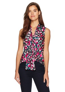 Nine West Women's Charmeuse Abstract Print Bow Blouse  XS