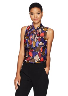 Nine West Women's Charmeuse Geometric Print Blouse  L