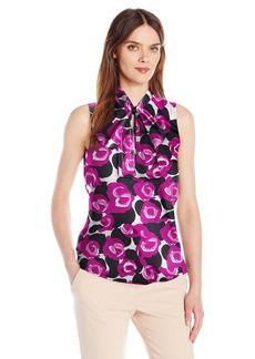 Nine West Women's Charmeuse Pattern Bow Blouse  XS