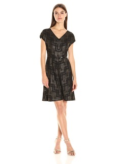 Nine West Women's Chevron Crepe Ss a-Line Dress
