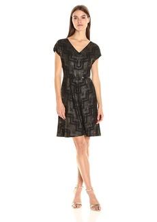 Nine West Women's Chevron Crepe Ss a-Line Dress