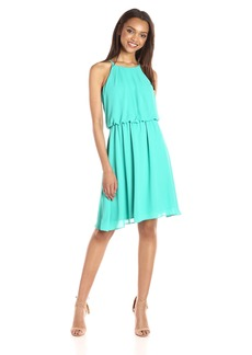 Nine West Women's Chiffon Dress with Pleated Bodice and Shirred Waist