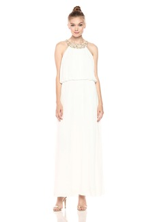 Nine West Women's Chiffon Maxi Dress with Beaded Neckline