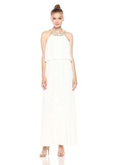Nine West Women's Chiffon Maxi Dress with Beaded Neckline