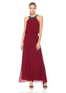 Nine West Women's Chiffon Maxi Dress with Pleated Bodice and Shirred Waist