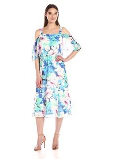 Nine West Women's Cold Shoulder Midi Length Dress