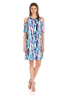 Nine West Women's Cold Shoulder Trapeze Dress with Smocking Detail Candy/ICE Blue Multi