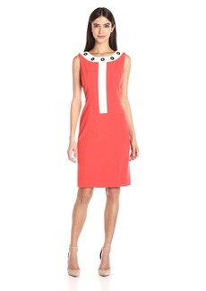 Nine West Women's Color Block Dress with Grommets on Jewel Neckline