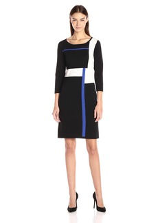 Nine West Women's Color Block Sheath Sweater Dress  L