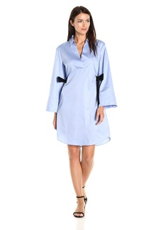 Nine West Women's Cotton Shirt Dress with Contrast Ties AT Waist