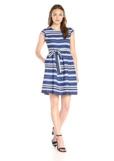 Nine West Women's Country Stripe Cap Sleeve Dress with Bow