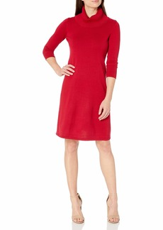 NINE WEST Women's Cowl Neck Fit and Flare Knit Dress  M