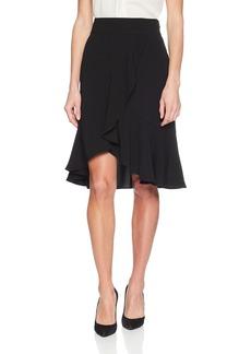 Nine West Women's Crepe Asymetrical Ruffle Skirt
