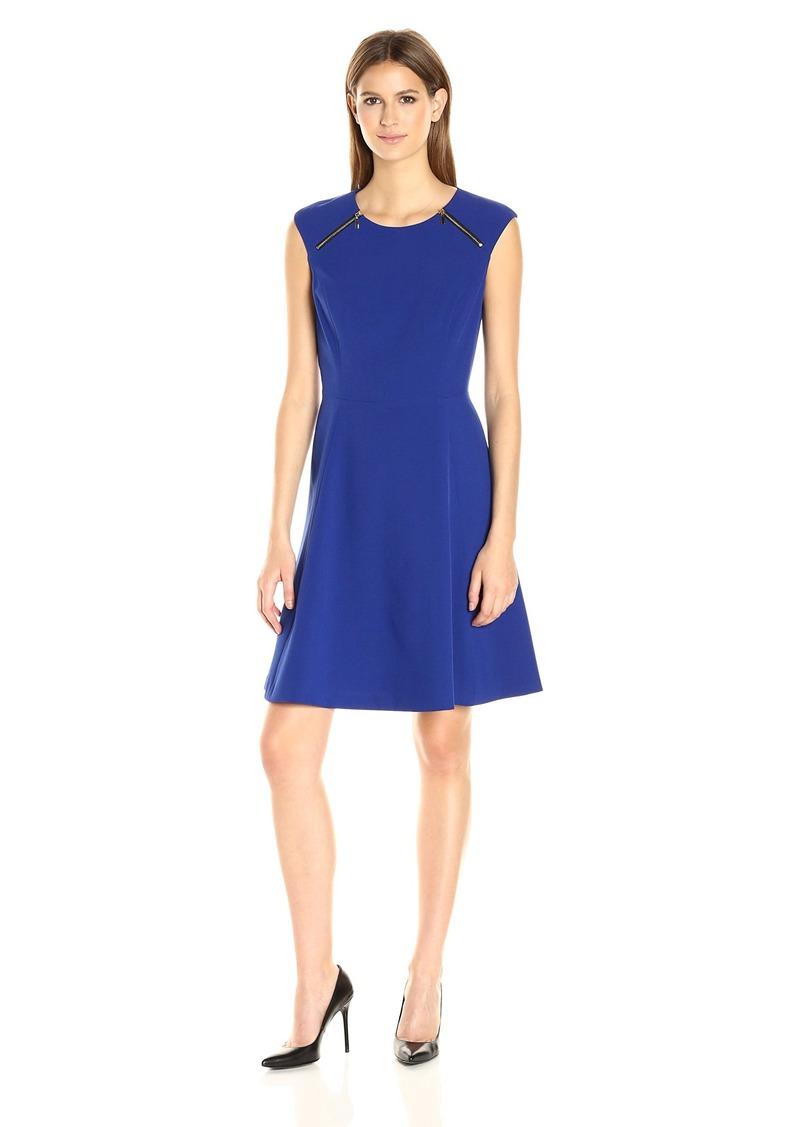 Nine West Women's Crepe Fit & Flare Dress W/Zippers Btwn Shoulder & Chest