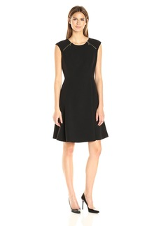 Nine West Women's Crepe Fit and Flare Dress W/ Zippers Btwn Shoulder and Chest